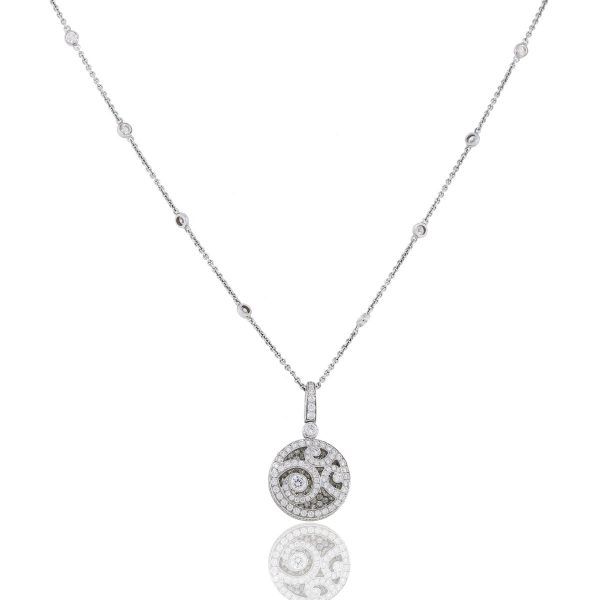 You are viewing this Graff 18k White Gold Pave Diamond Pendant on Diamond Chain!