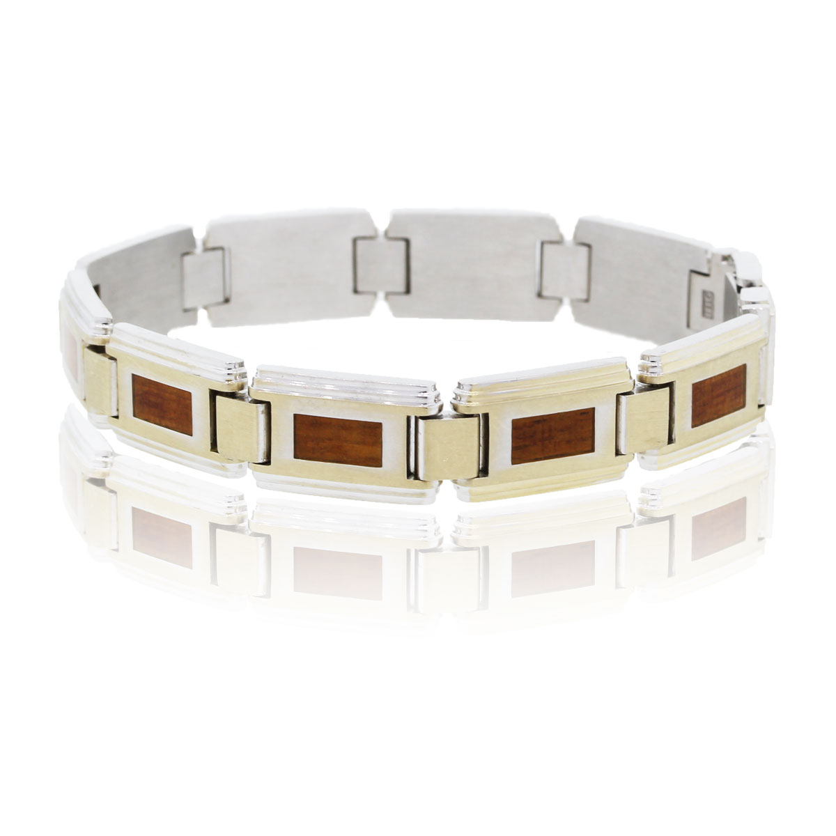 You are viewing this IBGoodman18k White Gold with Wood Inlay Mens Bracelet!