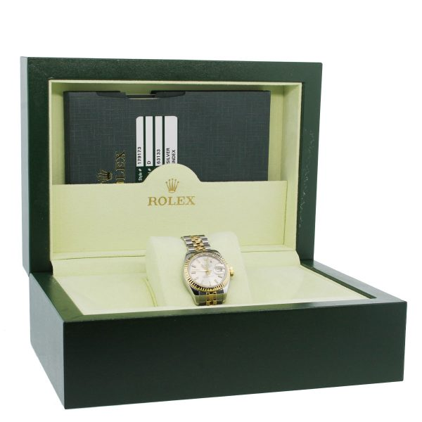 Rolex Datejust 179173 Two Tone Silver Dial Ladies Watch Box and papers