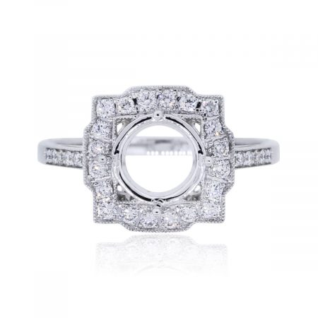 You are viewing this Platinum .37ctw Diamond Halo Mounting!