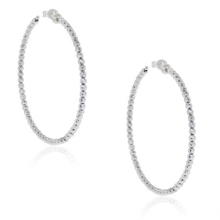 Officina Bernardi Sterling Silver & Platinum Hoop Earrings!