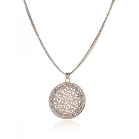 Officina Bernardi Sterling Silver, 18k Rose Gold & Platinum Rodium Sun Pendant Necklace!