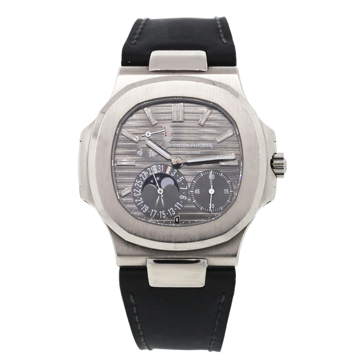 PATEK PHILIPPE 5712G NAUTILUS WHITE GOLD ON LEATHER WATCH