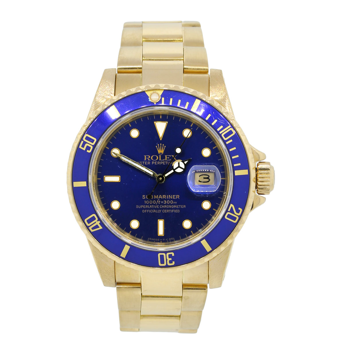 rolex 16808 submariner 18k yellow gold blue dial watch. Black Bedroom Furniture Sets. Home Design Ideas