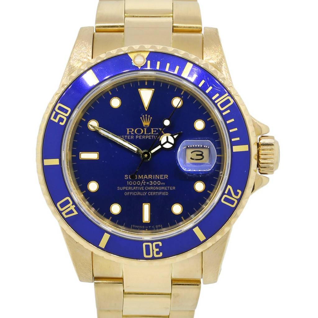Rolex 16808 Submariner 18k Yellow Gold Blue Dial Watch