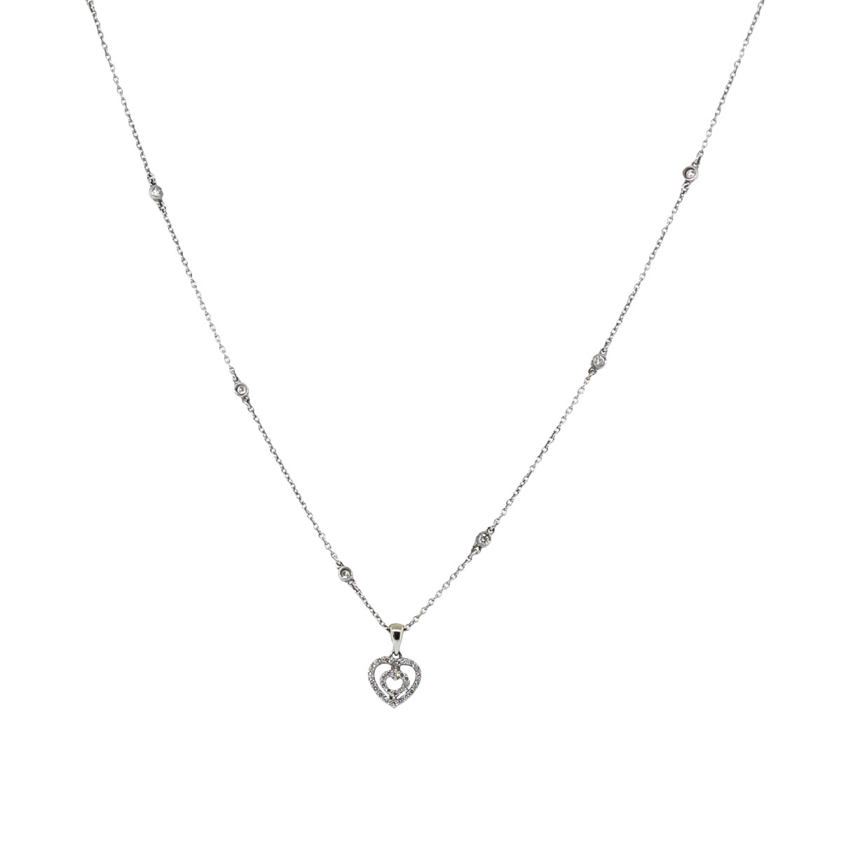 14k White Gold 0.30ctw Diamond Heart Necklace