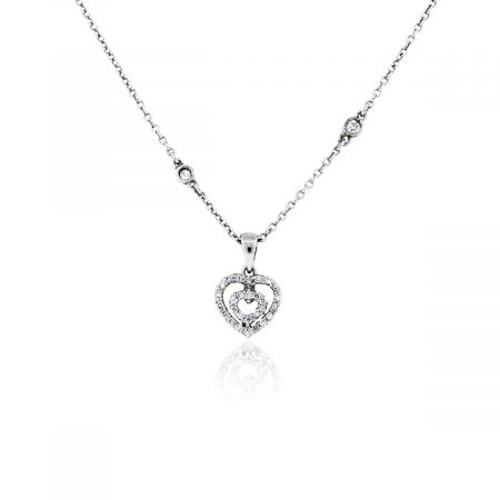 You are viewing this 14k White Gold 0.30ctw Diamond Heart Pendant Necklace!