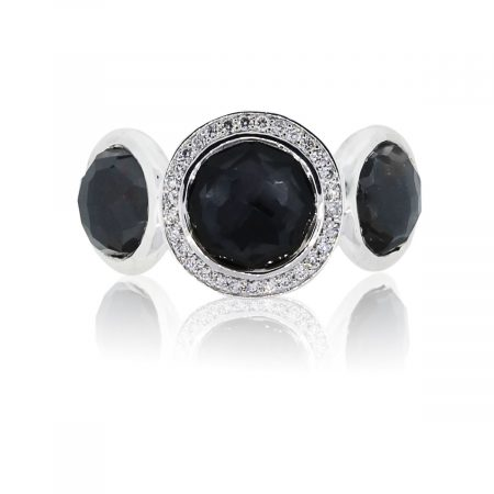 You are viewing this Ippolita Hematite & Diamond Sterling Silver Ring!