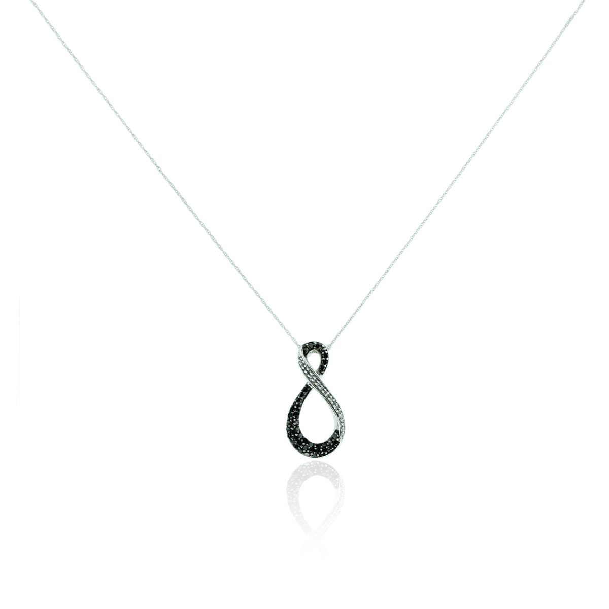 You are viewing this 10k White Gold Black and White Diamond Infinity Necklace!