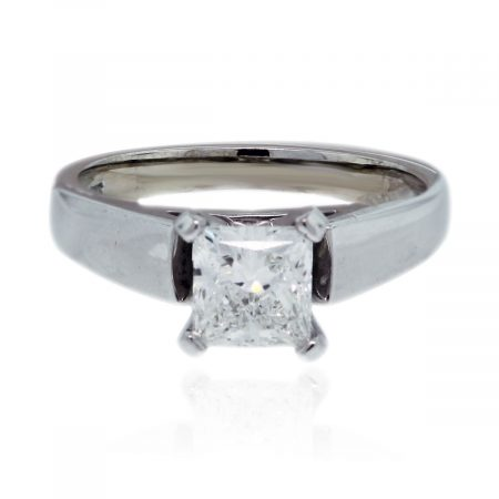 You are viewing this 14k White Gold .91ct Princess Cut Diamond Ring!