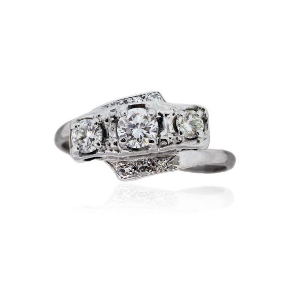 You are viewing this 14k White Gold 1.2ctw Diamond Vintage Ring!