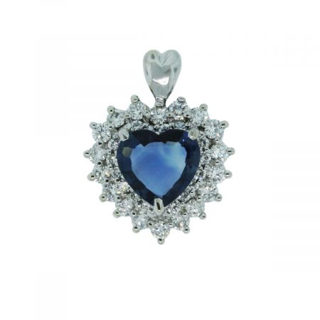 You are viewing this 14k White Gold 1.5ctw Diamond Sapphire Heart Pendant!