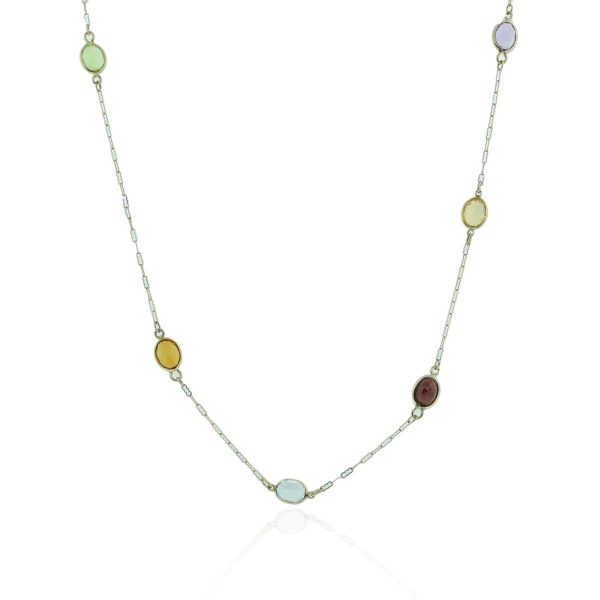 You are viewing this 14k Yellow Gold Multicolored Gemstone Chain Necklace!