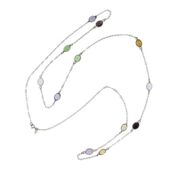 14k Yellow Gold Multicolored Gemstone Chain Necklace