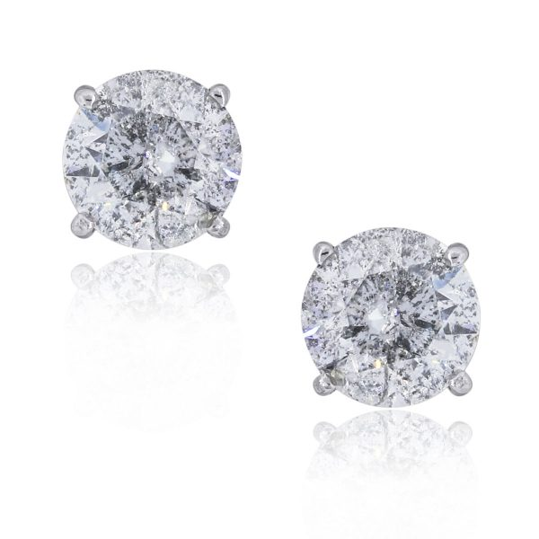 You are viewing these 14k White Gold 6.24ctw Diamond Stud Earrings!