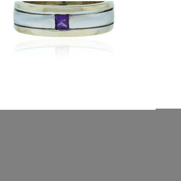 You are viewing this 14k Two Tone Amethyst Mens Ring!