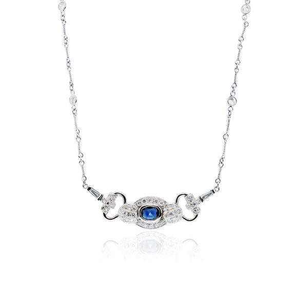 You are viewing this 14k White Gold 2ctw Diamond Blue Sapphire Necklace!