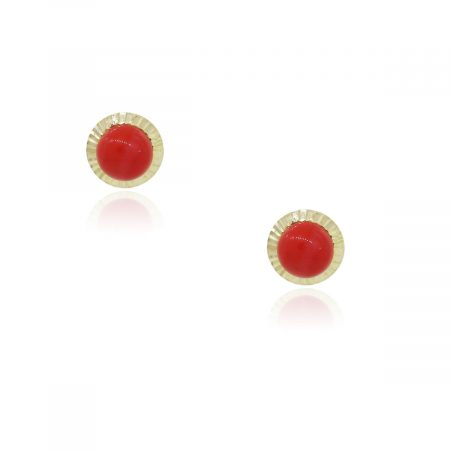 You are viewing these 14k Yellow Gold Coral Stud Earrings!