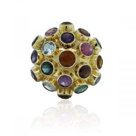 You are viewing this 18k Yellow Gold Miners Ball Multicolored Ring!