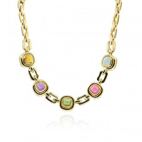 18k Yellow Gold Multicolored Necklace