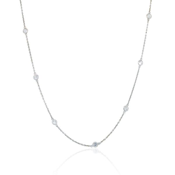 You are viewing this 18K White Gold .21ctw Diamonds by the Yard Necklace!