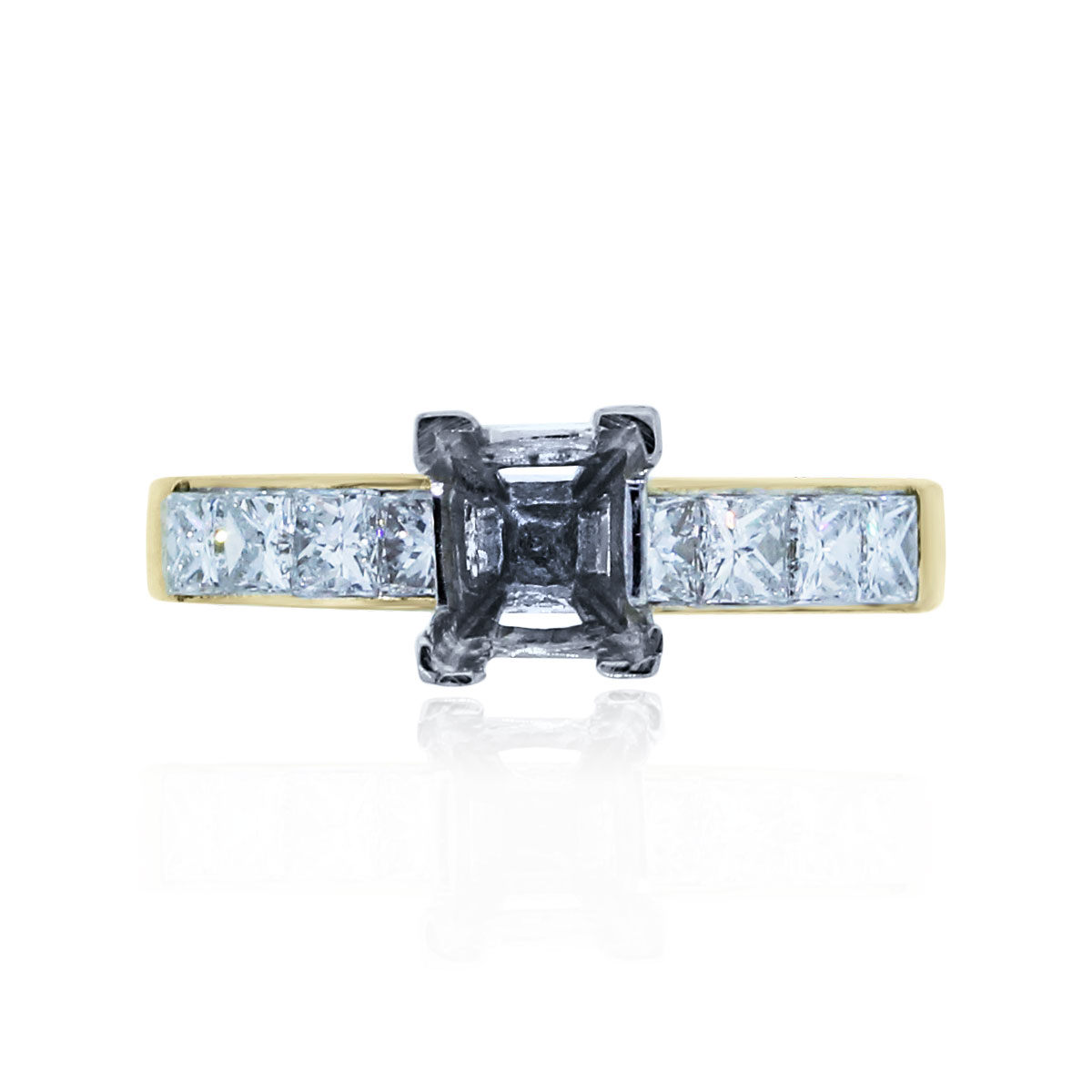 You are viewing this 18k Yellow Gold Princess Cut 1.6ctw Diamond Mounting!