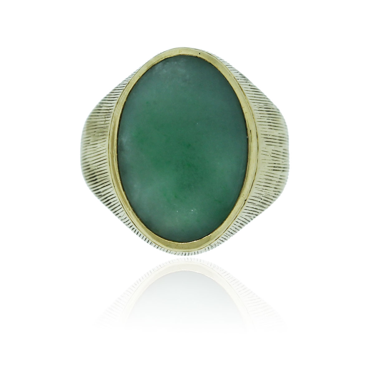 You are viewing this 18k Yellow Gold Mens Jade Ring!