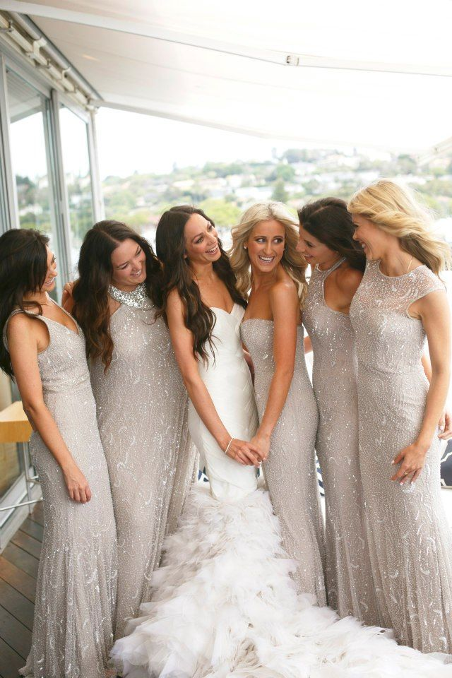 Shimmery Grey Bridesmaids Dresses