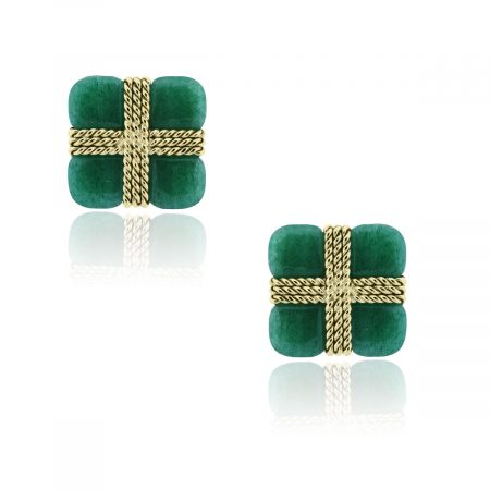 You are viewing these 14k Yellow Gold Aventurine Square Cuff Links!