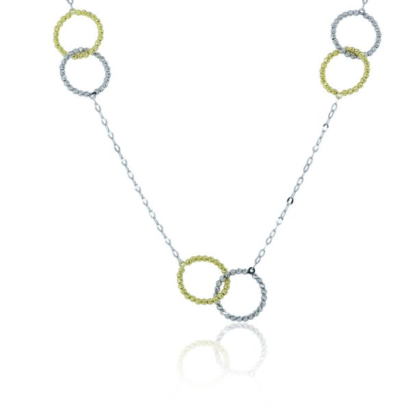 "Officina Bernardi Silver and Yellow Interlock 34"" Necklace!"
