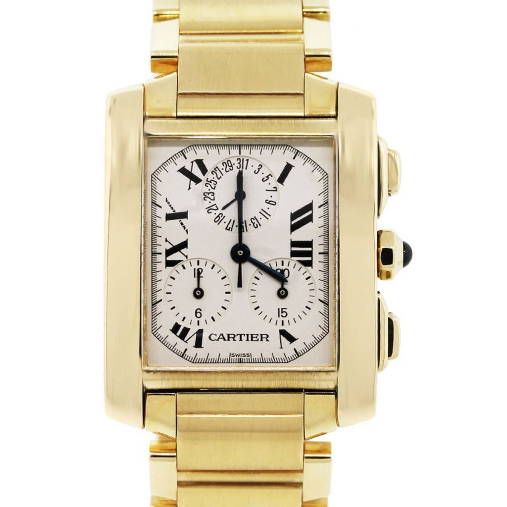 cartier tank francaise 1830 chronoflex 18k yellow gold watch. Black Bedroom Furniture Sets. Home Design Ideas
