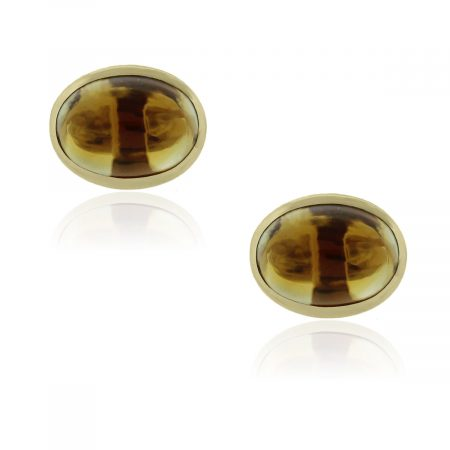 You are viewing these 14k Yellow Gold Oval Cabochon Citrine Cuff Links!