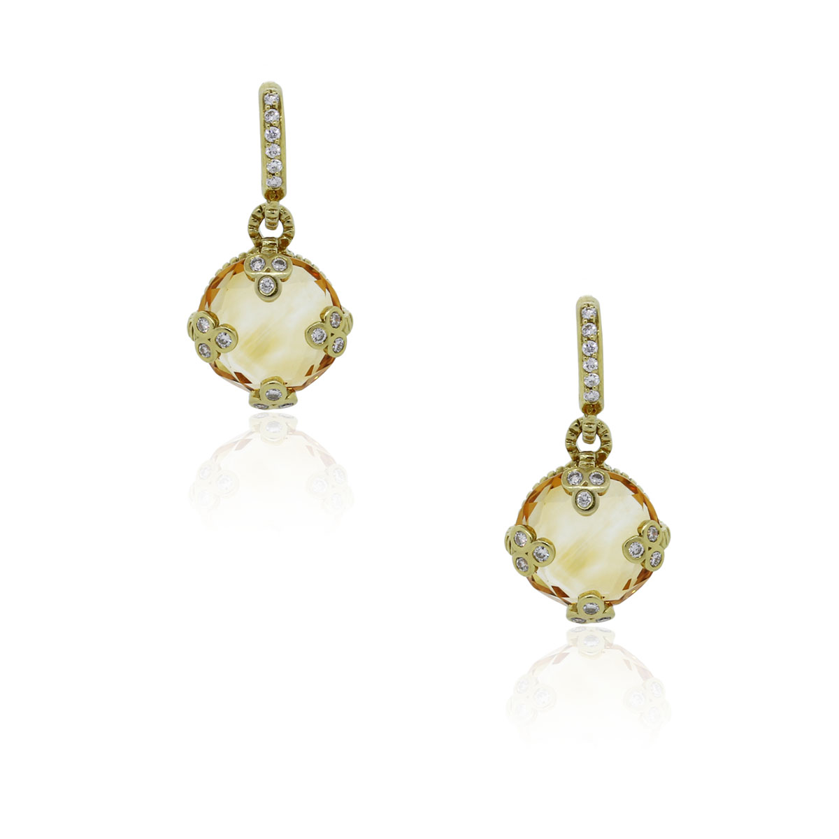 judith ripka 18k yellow gold citrine diamond earrings