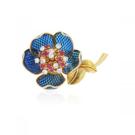 You are viewing this 18k Yellow Gold 1ctw Diamond Ruby Flower Brooch Pin!