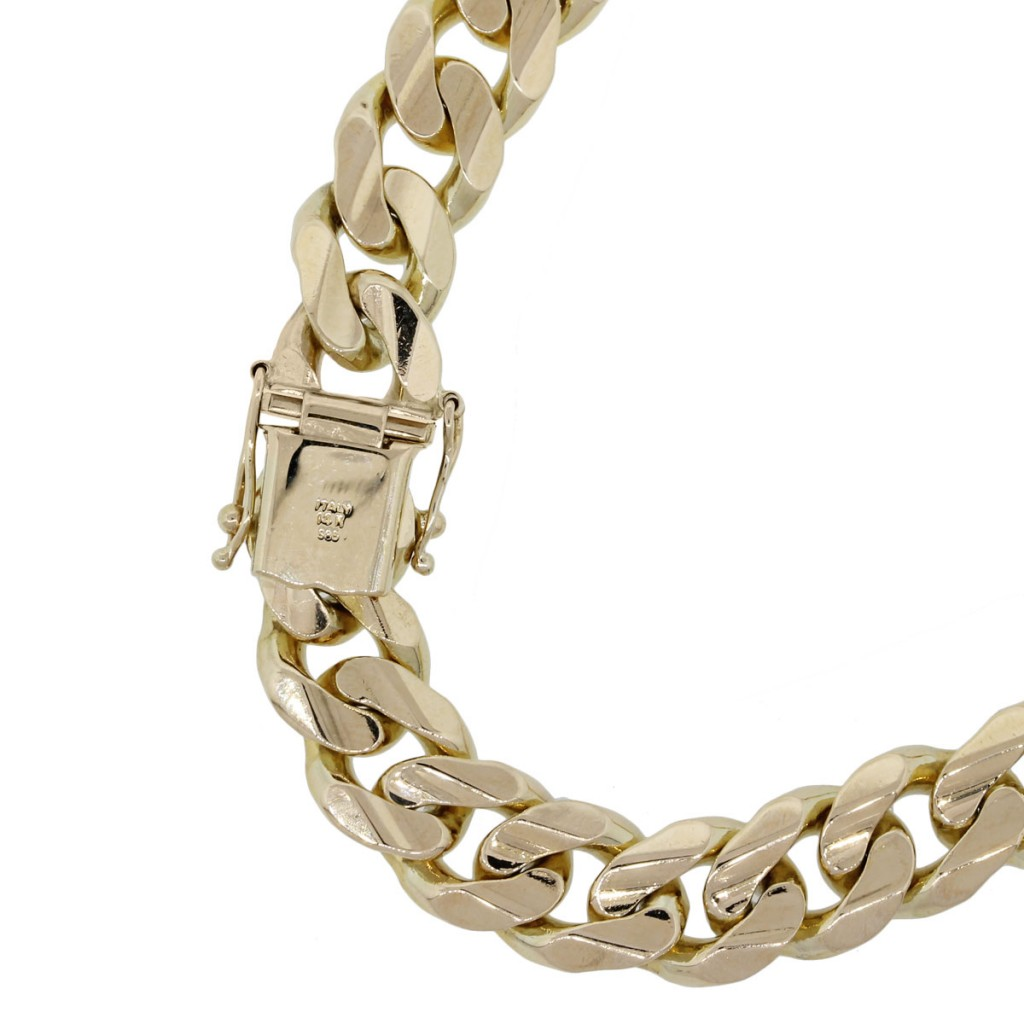 14k yellow gold curb link gents bracelet