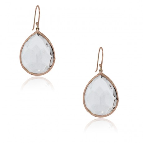 Ippolita Rose Gold Clear Quartz Mini Tear Drop Earrings