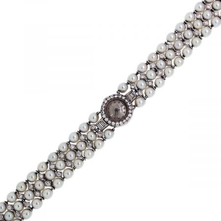 You are viewing this Jaeger 14k White Gold 1.5ctw Diamond Pearl Ladies Watch!