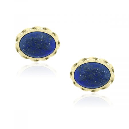You are viewing these 14k Yellow Gold Oval Cabochon Lapis Cuff Links!