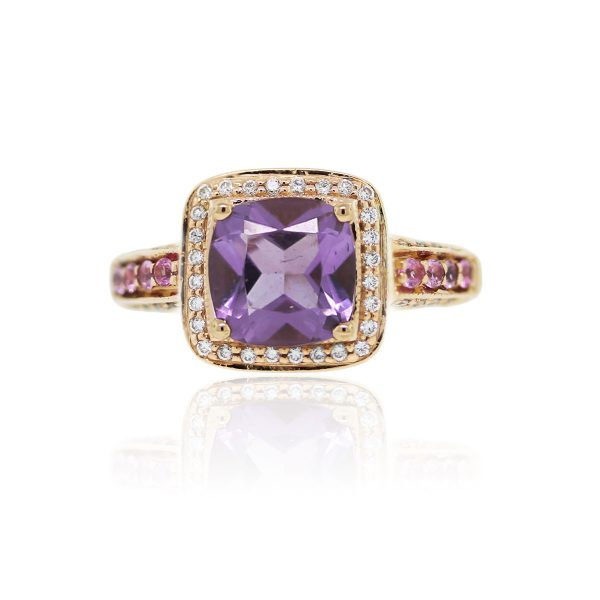 You are viewing this LeVian 14k Gold Amethyst & Pink Sapphire Diamond Ring!