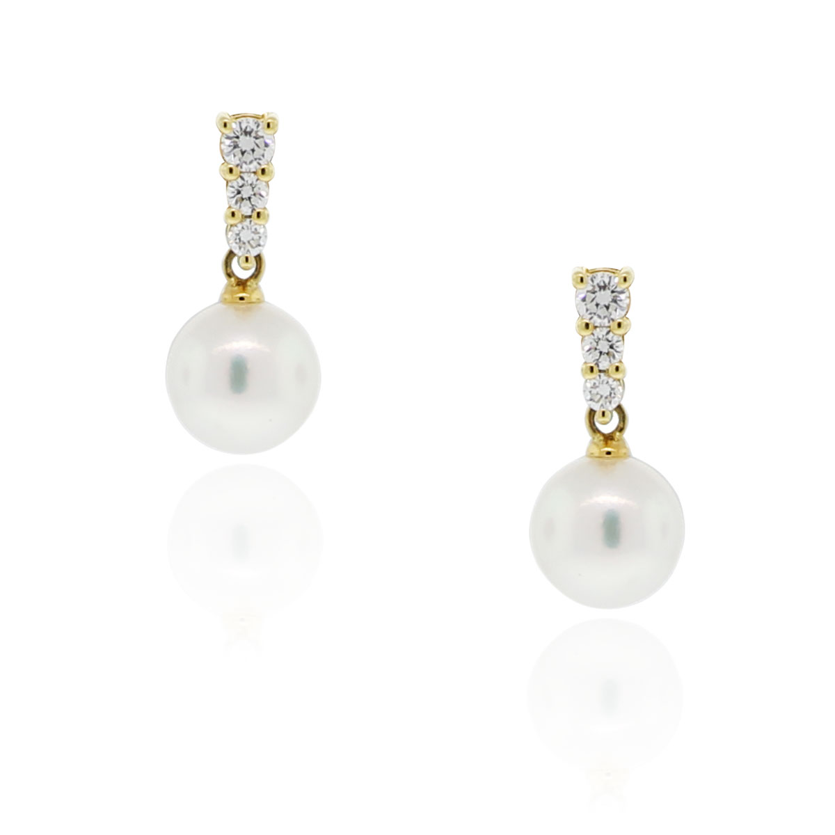 mikimoto 18k yellow gold diamond pearl drop earrings. Black Bedroom Furniture Sets. Home Design Ideas