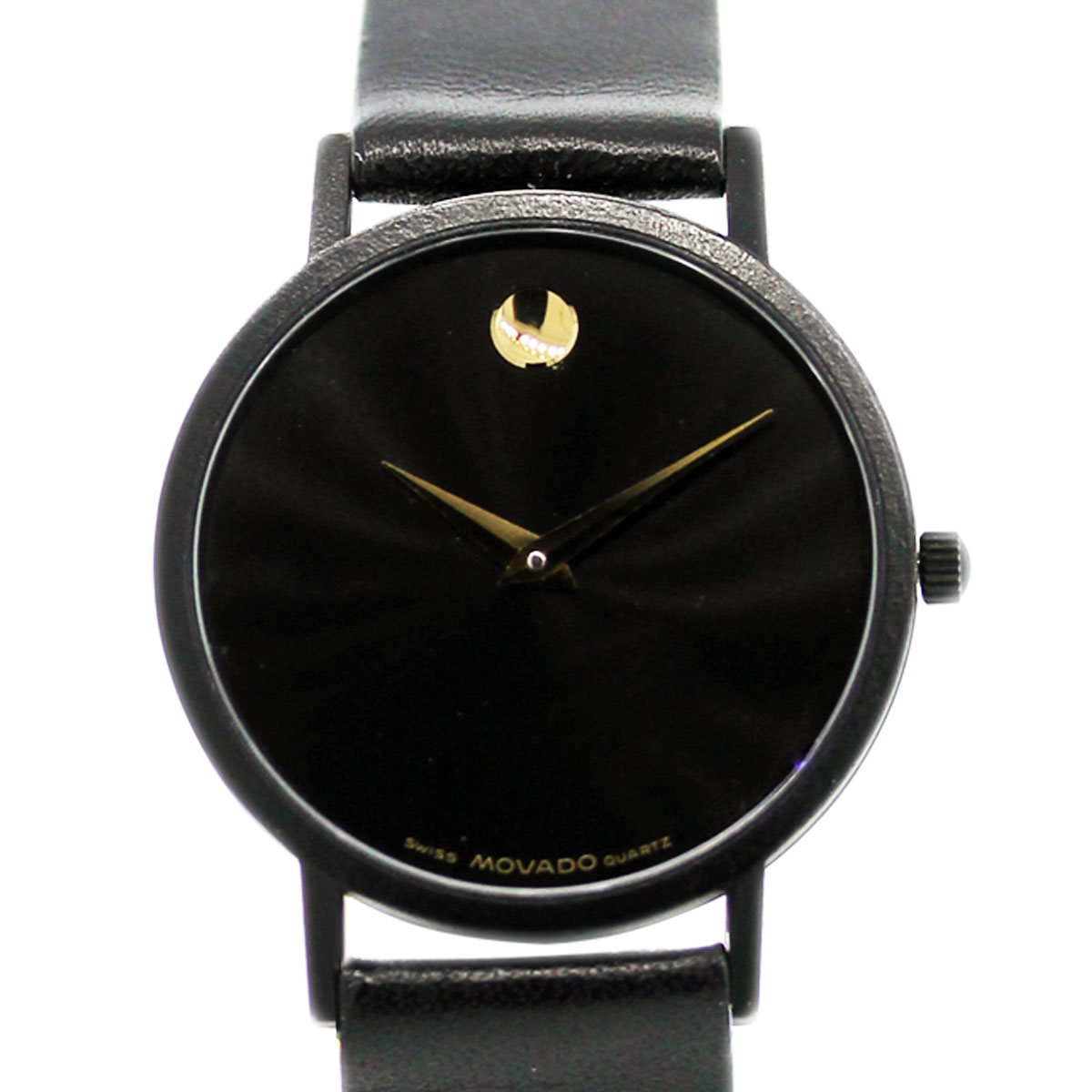 9e115d61a7c0 Movado Museum Watch on Black Leather Strap