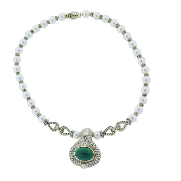 18k Yellow Gold Emerald, Diamond & Pearl Necklace