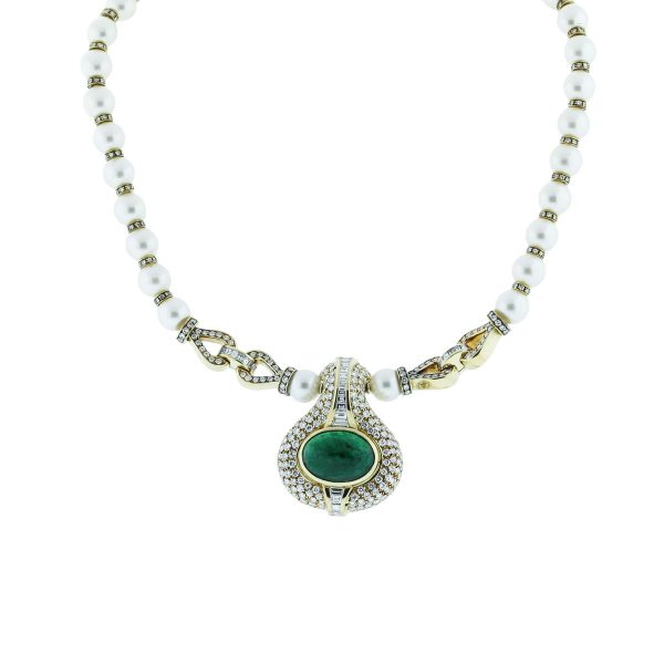 18k Yellow Gold 13.5ct Emerald Diamond & Pearl Necklace