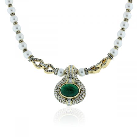 You are viewing this 18k Yellow Gold 13.5ct Emerald, Diamond & Pearl Necklace!