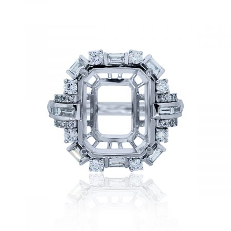 You are viewing this Platinum .91ctw Baguette & Round Diamond Halo Mounting!