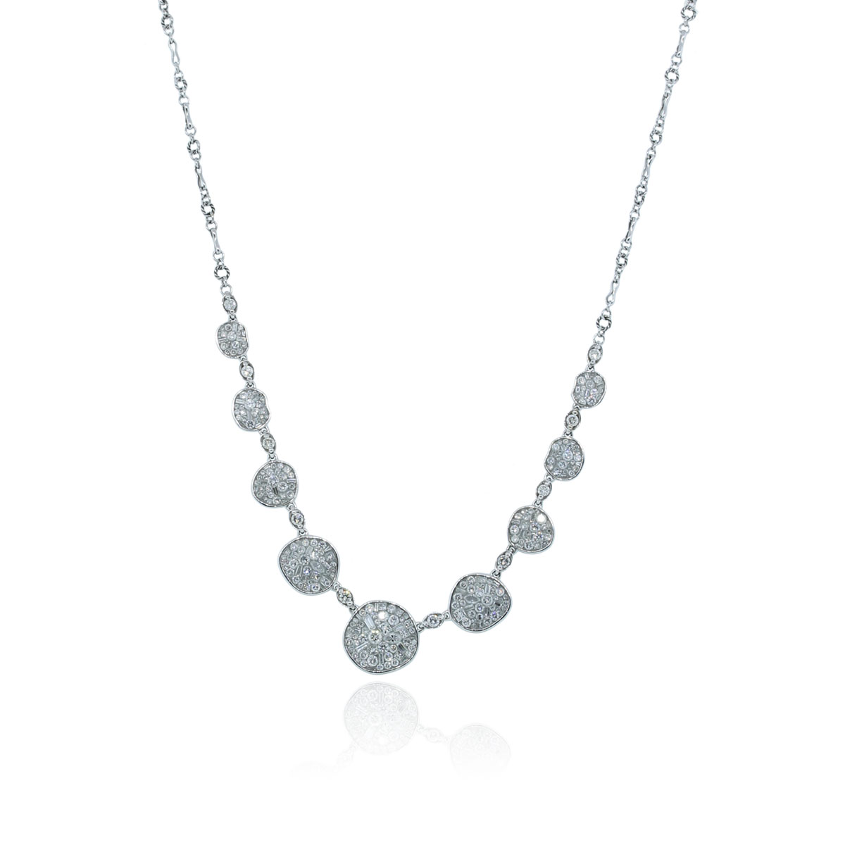 You are viewing this Peve 18k White Gold 5ctw Diamond Bubble Necklace!
