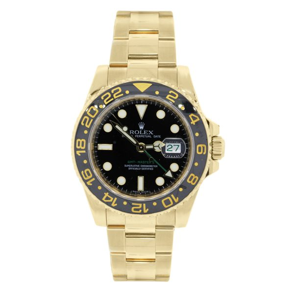Rolex GMT Master II Yellow Gold Black Dial Watch