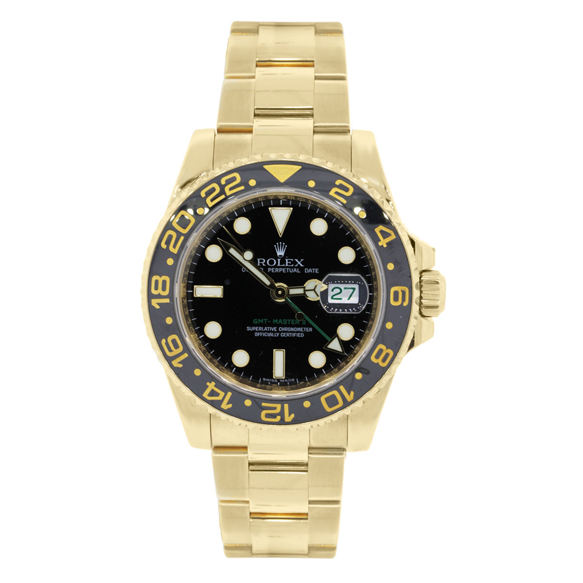 rolex 116718 gmt master ii yellow gold black dial watch. Black Bedroom Furniture Sets. Home Design Ideas
