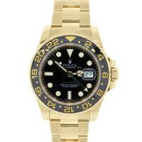 Rolex 116718 GMT Master II Yellow Gold Black Dial Watch
