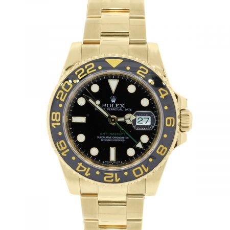 You are viewing this Rolex 116718 GMT Master II Yellow Gold Black Dial Watch!